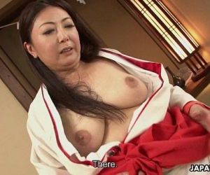 Mature Asian tramp in her kimono tries out two cocks - 8..