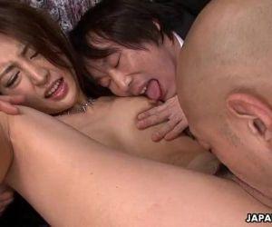 Cute Asian slut getting creamed by the fellas - 1 min 7 sec