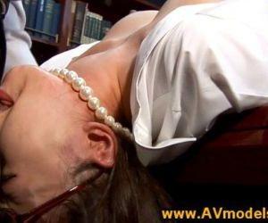 Asian babe secretary mouth fucked on desk - 6 min