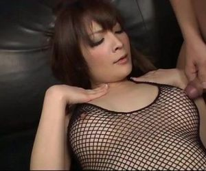 Riona looks sexy in black and her husband bends her over..