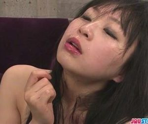Nozomi Hazuki in stockings gives an asian blow job for cum..