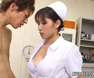 Horny Nurse Riko Tachibana big blowjob with cum swallow -..