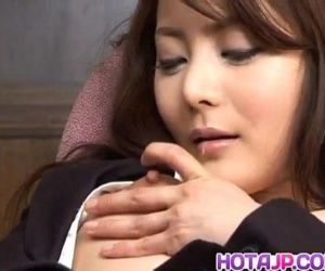 Mei Sawai Asian pleasures her hairy pussy with fingers at..