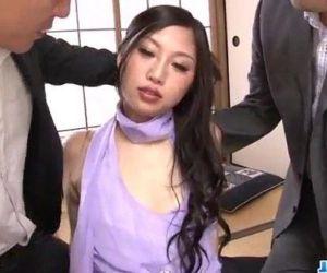 Serious office threesome along slutty Maki Takei - 12 min