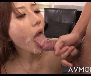 Lengthy hairy oriental deepthroat action - 5 min