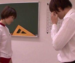 Young oriental schoolgirl blowing teacher - 5 min