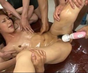 Six guys lie Ayaka Mizuhara down for a wild sexy orgy with..