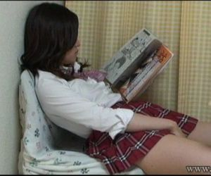 Aki Kawana Masturbation reading a naughty book - 2 min
