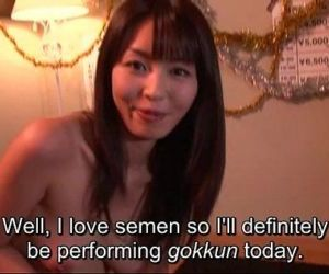 Subtitled Japanese AV star Marica Hase blowjob with gokkun..
