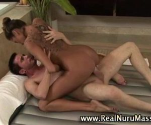 Tanned and tall masseuse hoe gets a cumshot - 5 min