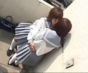 2 Japanese Schoolgirls Kissing on Rooftop - 1 min 37 sec