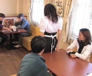 Japanese waitress food gangbang - 7 min HD