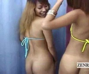 Subtitled Japan bikini gyaru double blowjob uncensored - 3..