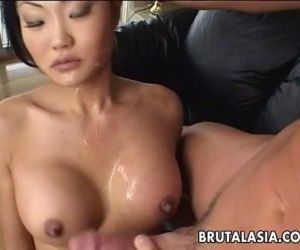 Asian brunette whore sucks and gets ass fucked real rough..