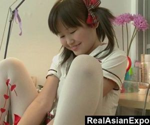 Petite Asian Orgasming Before School - 5 min HD