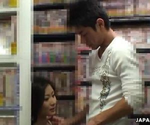 Ryo is sucking her man off in a sex shop - 43 sec