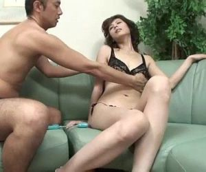 While Natsumi pussy is toyed she is skull fucked by her..