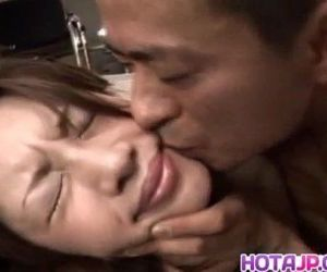 Sexy Asian babe Asahi Miura gets hairy pussy exposed and..