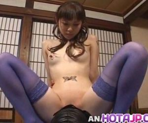 Tomoka Matsunami in lingerie rides masked man face with..