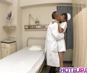 Aya hot nurse takes uniform off to suck and stroke two..