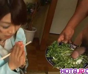 Mitsu Anno gets cock deepthroat and cum in mouth in food..