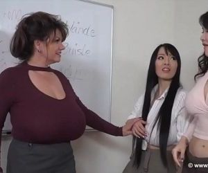 Two young asian girls and one german mature - 18 min