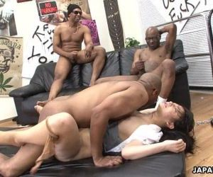 Three black men destroy the Asian sluts pussy - 8 min HD