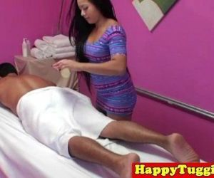 Inked asian handjob massage - 8 min HD