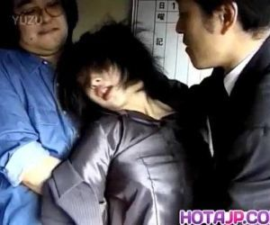Japanese milf has hairy crack roughly screwed by two dudes..