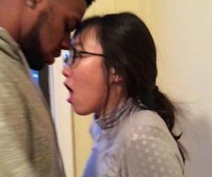 Korean student kissing her first black guy while boyfriend..