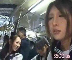 Asian schoolgirls groped in a bus - 46 min