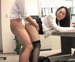 Asian lady shagged by two coworkers in her office - 8 min HD