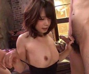 Small tits Yura Kurokawa pleases two fat dicks - 12 min