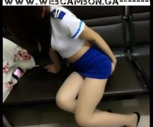 WWW.WEBCAMBON.GA - Masked asian in school uniform..
